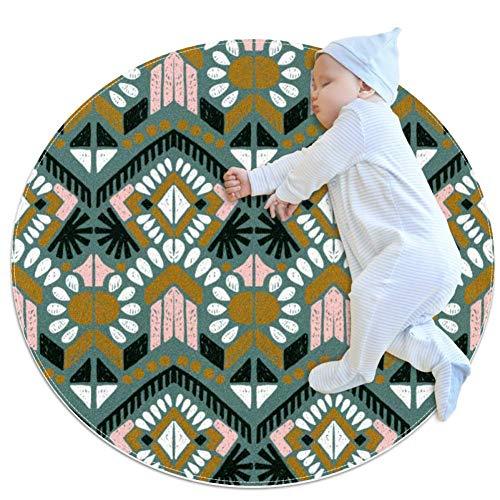 Ikat Geometric Folklore Ornament Circular Baby Krabbelmatte Schlafmatte Kissen Rutschfeste Matte Kinder Kleinkind Schlafzimmer, multi, 100x100cm/39.4x39.4IN