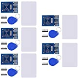 DaFuRui 5Pack RC522 RFID RF IC Card Sensor Module with S50 White Card and Key Ring Compatible for Arduino