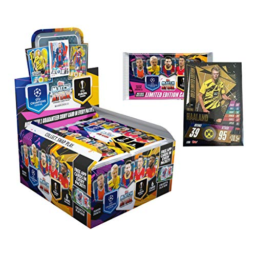 Match Attax 2020-21 Topps Champions League Cards - Box + 1 Bonus LE Promo Pack Including LE Gold Haaland Card (30 Packs per Box) (6 Cards per Pack) (Total of 185 Cards)