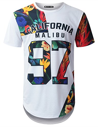 URBANTOPS Mens Hipster Hip Hop Tropical Graphic Longline T-Shirt (Various Style)