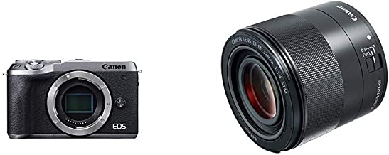 Canon EOS M6 Mark II Mirrorless Camera, Body (Silver) with EF-M 32mm f/1.4 STM Lens, Black