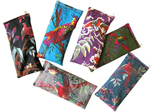 Scented Eye Pillows - Pack of (6) - Soft Cotton 4 x 8.5 - Organic Lavender Flax Seed - hand block print - birds flowers purple black blue gray green