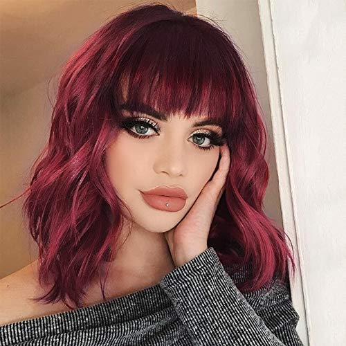 MORICA Synthetic Curly Bob Wig with Bangs Short Bob Wavy Hair Wig Wine Red Color Shoulder Length Wigs for Women Bob Style Synthetic Heat Resistant Bob Wigs