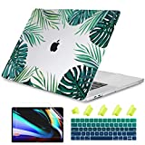 Dongke Case for MacBook Pro 13 Inch Case 2019 2018 2017 2016 Release A2159 A1989 A1706 A1708, Crystal Tropical Leaves Plastic Hard Shell Cover for Newest 13 Inch MacBook Pro Case with Touch Bar