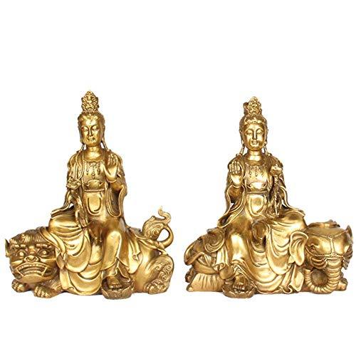 yunyu Figur buddhistische Avalokiteshvara Kuan Yin Statue, Buddhismus sitzende Buddha Statue, sammelbare meditierende Figur golden 11.8inch