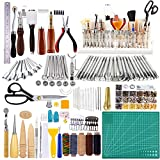 650 Pcs Leather Working Tools Kit, 26 Pcs Leather Stamping Tools, Leather Sewing Kit, Leather Tool Holder, Leather Making Tools Set for Leather Cutting Skiving Stamping Carving, Great for Beginners