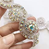 USIX Handmade Iron On Sparkling Crystal Rhinestone Applique Patch by Yard Hotfix Hand Sew Deaded Applique for DIY Shoes Clothes Dresses Wedding Sash Decoration(Crystal AB)