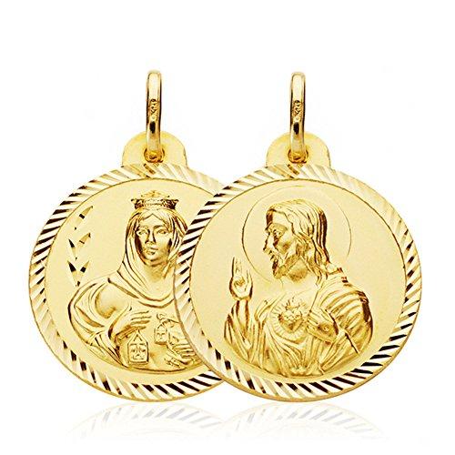 Escapulario Virgen Carmen y Corazón de Jesús Medalla Oro 18k hélice 22 mm