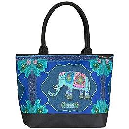 VON LILIENFELD Cabas Eva Maria Nitsche: Blue Elephant Femme Besace Sac Bandoulière Spacieux Art Éléphant