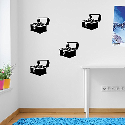 ENFANTS Pirate Coffre au trésor d'or, fenêtre de décoration murale Stickers Décoration murale Stickers muraux Décoration murale Stickers muraux Stickers Autocollant mural Stickers panoramique Décor DIY Deco amovible Stickers muraux colorés stickers, Vinyle, 17 - Black, Large (Set 1)