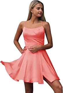 Jonlyc 2019 A-Line Spaghetti Straps Satin Short Homecoming Dresses with Slit