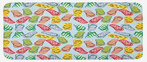 """Ambesonne Flip Flop Kitchen Mat, Slippers with Hibiscus Flowers Palm Tree Leaves and Polka Dot Pattern, Plush Decorative Kitchen Mat with Non Slip Backing, 47"""" X 19"""", Multicolor"""