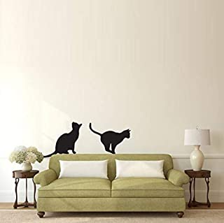 xcdfr Wall Stickers Cats Sitting and Pouncing Silhouette Wall Stickers Animal Home Decor Removable Vinyl Wall Decals DIY Art Murals44X75Cm