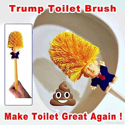 The Best Effective Products Donald Trump Toilet Brush Bowl Scrubber Trump Comes with Toilet Paper Bundle Funny Gag Political Novelty Item