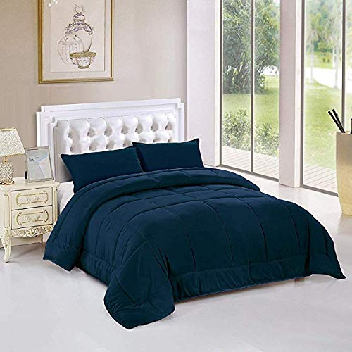 bednlinens&things Soft Queen King Twin Comforter Set, All Season Comforter Soft Reversible Quilted Down Alternative Duvet Insert-Lightweight (Navy, Queen)