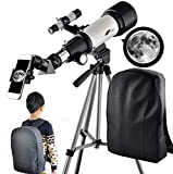 Telescopes for Adults 70mm Aperture 400mm AZ Mount,Astronomical Refractor Portable Telescope for Kids and Beginners with Backpack to Travel and View Moon…