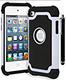 Bastex Hybrid Armor Shockproof Case for Apple iPod Touch 4, 4th Generation • Cream White & Black (Includes Stylus)