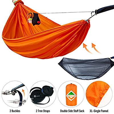 onewind Double Camping Hammock Sets 2 Person with Mosquito Net, 10.5FT Tree Straps,Adjustable Ridgeline, Lightweight Compact Sack Portable Nylon Hammock Off Ground Orange(126inches68inches)