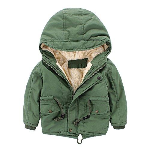 Cystyle Winterjacke für Kinder Jungen Mädchen Mantel Trenchcoat Outerwear mit Kapuzen (100/Körpergröße 90-95cm, Grün)