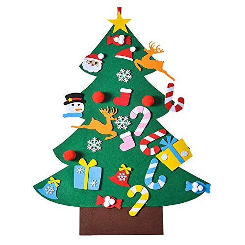 DIY Felt Christmas Tree with Ornaments, Xmas Gifts for Kids New Year Handmade Christmas Door Wall Hanging Decorations (Green, 3925 in)