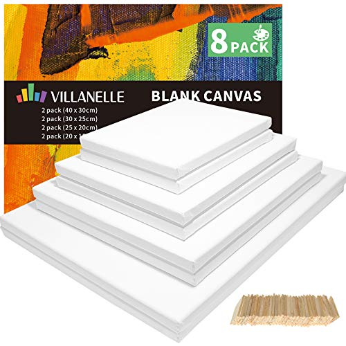 Blank Canvas Boards for Painting, 20x15, 25x20, 30x25, 40x30cm/8 Set Artist Canvase Frame Board Panels, 100% Cotton Stretched Canvas Oil Acrylic Watercolor Pouring Paint, Acid-Free for Kids & Artists