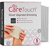 Care Touch Silver Alginate Wound Dressing - Antibacterial Alginate with Silver - 5 Individually Wrapped...