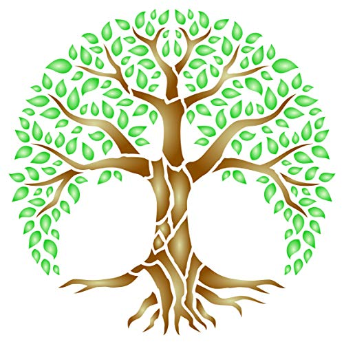 Tree of Life Stencil, 10 x 10 inch (M) - Sacred Mandala World Tree Wall Stencils for Painting Template