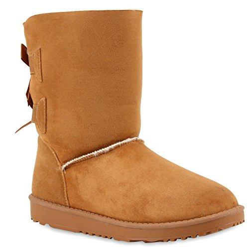Schlupfstiefel Damen Schleifen Stiefeletten Warm Gefüttert Indianer Fransen Pocahontas Schuhe 109994 Total Hellbraun Schleifen 36 Flandell