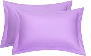 uxcell Pillow Shams Oxford Pillow Cases Egyptian Cotton 300 Thread Count Solid/Plain Pattern Lilac 20 x 36 Inch Set of 2
