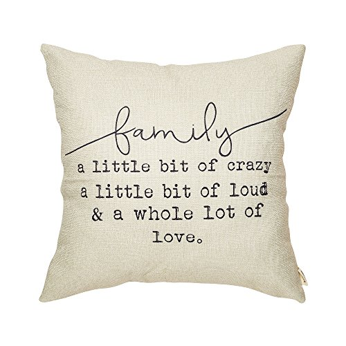 Fjfz Family a Little Bit of Crazy a Little Bit of Loud and a Whole lot of Love Rustic Decoration Farmhouse Décor Cotton Linen Home Decorative Throw Pillow Case Cushion Cover for Sofa Couch, 18' x 18'