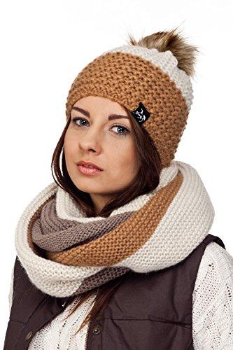 Damen-Mütze mit Bommel Kombiset Loopschal Mützenset Schal und Mütze Schalset versch. Modelle (Braun/Beige)