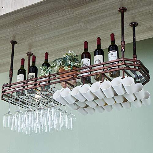 LYTBJ Wine Rack,Bar,Restaurant,Hanging,Wine Glass Rack,Bars Kitchen Stemware Mug Racks, Glass Panel,Boom Height Adjustable Cusization,Bronze,80X35Cm