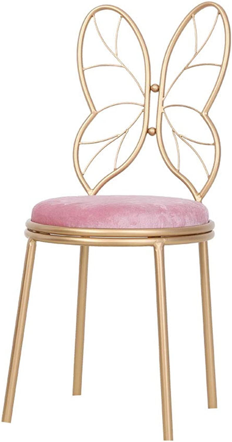 Gsej-Barstools Modern High Stool Creative Angel Chair, Comfortable Velvet Cushion, Non-Slip Mat, Suitable for Kitchen, Dining Room, gold, 18 27 Inchs