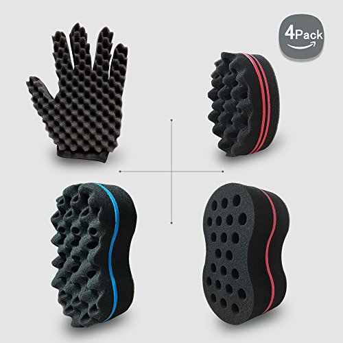 Big Holes Hair Brush Barber Curl Magic Sponge and Glove(Left) Kit Tutorial For Different Styles Dreadlock Twist Afro Coils Curling Wave Men and Women Hair Care Tool Set of 4(Blend)