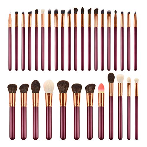 Ensemble de pinceaux de maquillage, pinceau à poudre, Kabuki, kits de pinceaux à mélange de fards à paupières, pinceaux de mélange de maquillage Premium Foundation pour femme (32pcs, rouge Jujube)