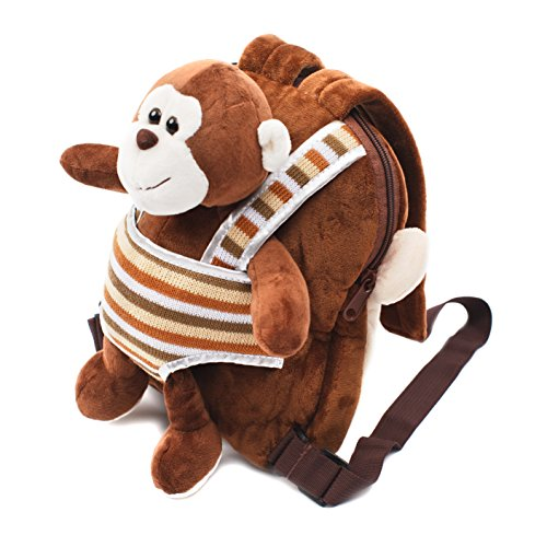 Toddler Backpack with Plush Lovey Perfectly Sized for Kids | Cuddly Animal Backpack for Kids | Preschool Bag for Girls Or Mini Backpack for Boys | On The Go Toy Backpack for Kids (Brown)