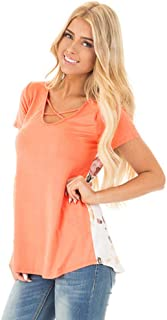Women's T-Shirt, Summer Back Printed Cross Strap Round Neck Short Sleeve Fashion Loose Top,b,L