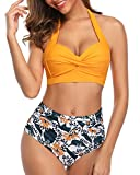 Tempt Me Women Vintage Swimsuits Yellow Retro Halter Ruched High Waist Bikini M