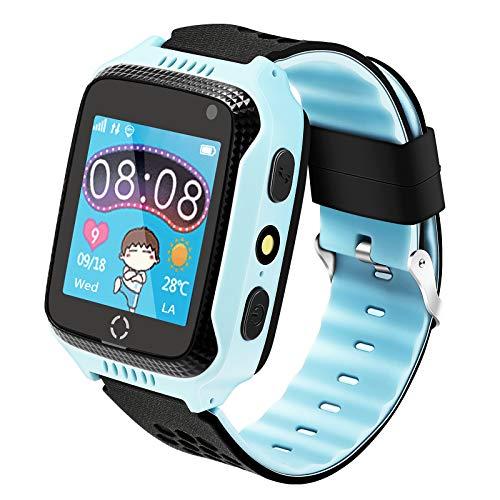 Kinder Smartwatch Telefon, Handy Uhr für Kids, mit Anti-verlorener GPS Ortung Tracker, Rufen, SOS, Voice Chat, Pedometer, Wecker, kinderuhr für mädchen oder Jungen (Blau)