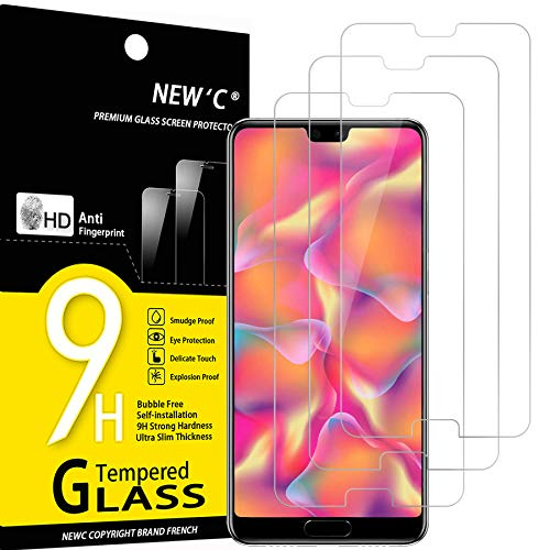 NEW'C Lot de 3, Verre Trempé Compatible avec Huawei P20, Film Protection écran sans Bulles d'air Ultra Résistant (0,33mm HD Ultra Transparent) Dureté 9H Glass