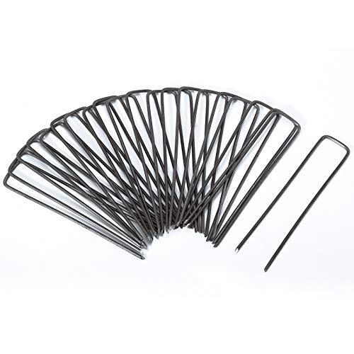 SWITORY 50pc 3mm Stark Erdanker für Unkrautvlies, 150mm lang Erdnägel aus Stahl im Set zur Befestigung von Unkrautflies, Unkrautfolie, oder fürs Camping Erdspieß, Erddübel, Bodenanker