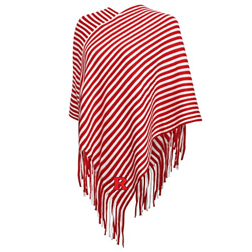 NCAA Rutgers Scarlet Knights FeWomen's Campus Specialties Striped Team Poncho, Red/White, One Size