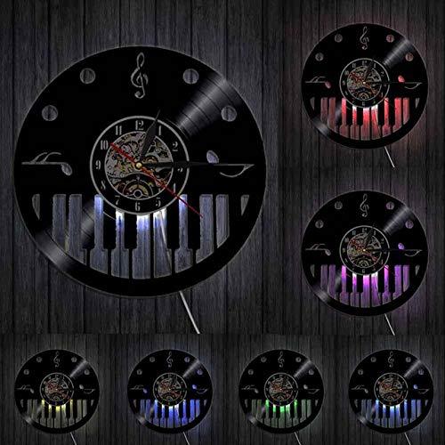 HIDFQY Teclas de Piano y Clave de Sol Disco de Vinilo Reloj de Pared Pianista música Artista Sala de Estudio decoración de Pared Reloj Vintage Piano Colgante de Pared Arte con LED