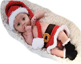 Fashion Newborn Baby Girls Photo Shoot Props Outfits Crochet Knitted Christmas Hat Dress Shoes Photography Props Red and White