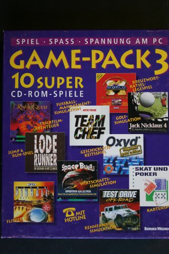 GAME - PACK 3 10 Super CD ROM SPIELE - King Quest VII, Jack Nicklaus 4, Team Chef, X World, Oxyd, Skat und Poker, Test Drive Offroad, Space Bucks, Ultra Pinball 3D Creep Night, Lode Runner.