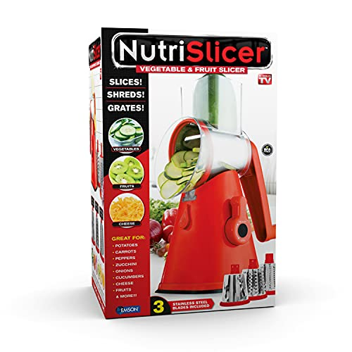 NUTRISLICER 3-in1 Kitchen Spinning/Rotating Mandoline and Countertop Food Slicer, Chopper, Shredder, and Grater with 3 Stainless Steel Drum Blades For Vegetable, Fruits, Cheese As Seen On TV