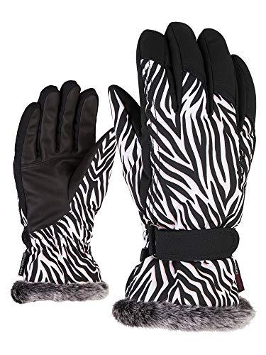Ziener Damen KIM lady glove Ski-handschuhe / Wintersport |warm, atmungsaktiv, wild zebra print, 7,5