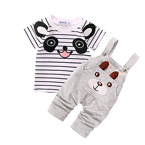 Conjuntos de ropa, Dragon868 Cute niño correas pequeño oso rayado de manga corta conjunto para bebé (2-3Y, gris)