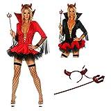 Disfraz Colegiala SexyDisfraz de diablo de Halloween para mujer Disfraz de cuerno Traje de disfraz de diablo sexy para mujer-rojo_METRO