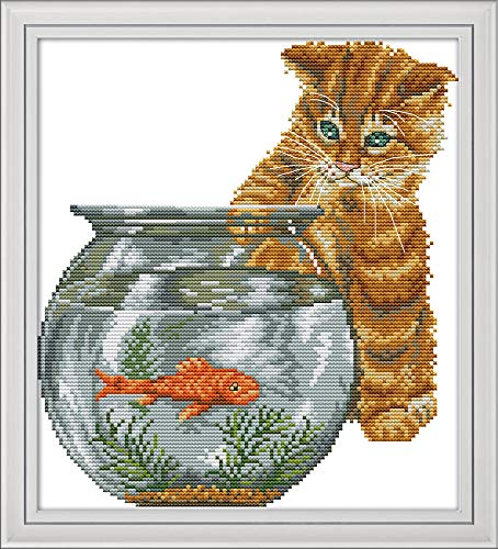 Cross Stitch Kits, Cat and Fish Animals,Fish Tank Awesocrafts Easy Patterns Cross Stitching Embroidery Kit Supplies Christmas Gifts, Stamped or Counted (Cat, Counted)